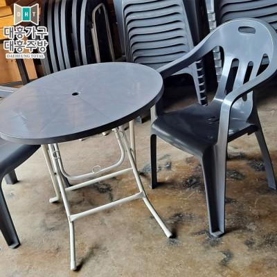 플라스틱 테이블(800파이-7EA)의자-26EA